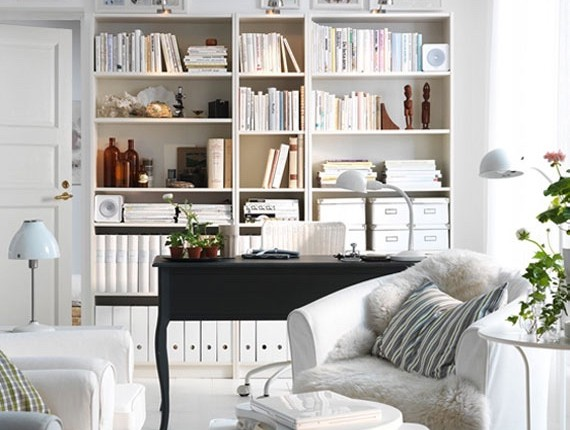 A well organized living room that looks lived in.